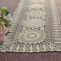 Hand Crochet Cotton Doilies Mats Vintage Lace Table Runner Pattern 35x150cm