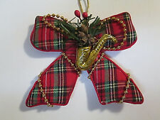 Red Tartan Plaid Fabric Bow Christmas Tree Ornament Beaded Accents & Saxophone