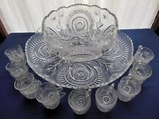 L E Smith Glass Clear Pinwheel & Star Slewed Horseshoe 20 piece Punch Bowl Set