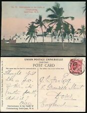 GOLD COAST 1911 CROWNED DOUBLE CIRCLE CANCEL ACCRA CHRISTIANSBORG CASTLE PPC
