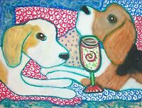 Beagle Drinking Coffee Pop Art Print Signed by Artist KSams 8x10 Dog Collectible