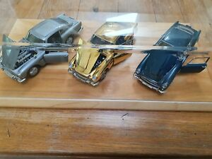 DANBURY MINT ASTON MARTIN DB5 X3 CARS GOLD/SILVER/ AEGEAN BLUE MODELS