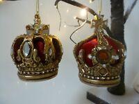 Gisela Graham Red Velvet Gold Resin & Jewelled Crown Christmas Decoration 8cm