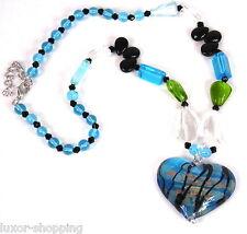 NEU Halskette Anhänger Herz Kette Collier Murano Glas - Perlen Modeschmuck blau