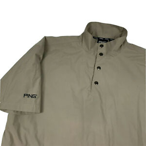 Ping Golf Collection 1/4 Snap Windbreaker Jacket M Beige Chevy Logo EUC
