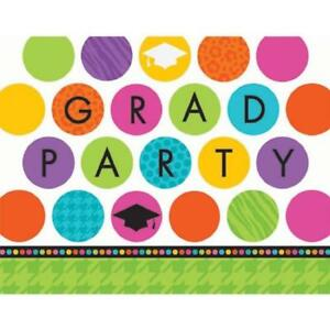 Colorful Commencement Congrats Grad Graduation Party Invitations w/Envelopes
