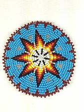 TURQUOISE BLUE STAR BEADED NATIVE AMERICAN INSPIRED APPLIQUES ROSETTE  Q53/15