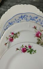 4 Vtg OLD Mismatched China Dinner Plates, Shabby Chic Wedding DPe
