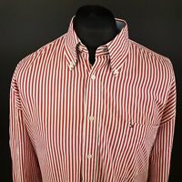 Tommy Hilfiger Mens Shirt 2XL Long Sleeve Red Regular Fit Striped Cotton