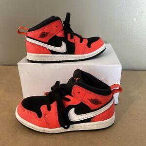 Nike Air Jordan 1 Mid (TD)/ Toddler Size 9c/ Black-Red-White