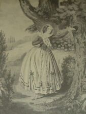 """""""MY FIRST LOVE"""" Young Victorian Lady Leaving Love Letter in Tree Currier & Ives"""