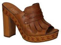 Casadei women's sandals shoes with platform in tan Leather Size US 6.5 - EU 36½
