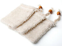 3Pcs Ramie Soap Saver Bags Shower Exfoliator Sponge Handmade Foaming Net Pouch