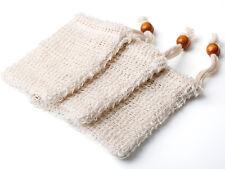 3Pcs Ramie Soap Saver Bags Shower Exfoliator Sponge Handmade Foaming Net Pouch
