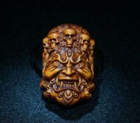 Collect Japanese Noble boxwood carved skull ghost King exorcism statue netsuke