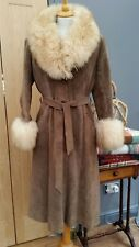 Ladies BEIGE Boho SUEDE Real Sheepskin AFGAN COAT Jacket UK 10/12 34/36' chest