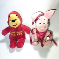 "Disney Winnie the Pooh and Piglet 12"" 30cm Soft Toy Bed Time Plushes"