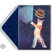 PAPYRUS BIRD & QUILL LENTICULAR JEDI CAT HAPPY BIRTHDAY CARD MATCHING ENVELOPE