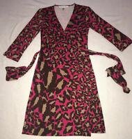 Diane von Furstenberg Vintage Womens Leopard Print Wrap Dress - Size 4