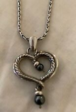 RETIRED RARE BRIGHTON QUEEN OF PEARL Heart Silver Pendant NECKLACE NEW WITH TAG
