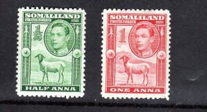 Somaliland Protectorates- 1938  George VI -1/2a & 1a -MM SG 93-94