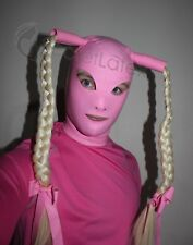 Pink latex rubber gummi HOOD Mask serré Handmade Pigtails Cosplay Costume UK Stock
