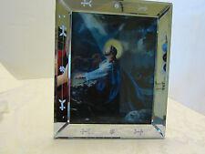 ETCHED BEVELED CUT GLASS VENETIAN MIRROR FRAME JESUS 3D MOUNT OLIVE Japan