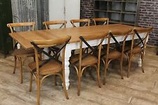 7FT FARMHOUSE EXTENDING KITCHEN TABLE WITH A SOLID OAK TOP AND A PAINTED BASE