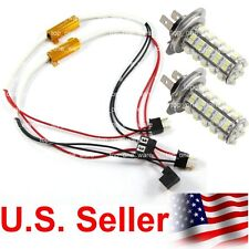 2 pcs H7 68-SMD 6000K White LED DRL Fog Light Bulbs with Load Resistor Harness