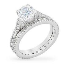 3.5 TCW 2 Ct Round Solitaire CZ Bridal Engagement Endless Eternity Ring Set Sz 6