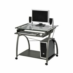 "Vincent Movable Computer Desk With Caster Wheels Metal Frame 32"" x 24"" x 30""H US"