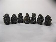 Vintage Buddha wise men immortals Chinese 7 figures metal