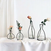 Simple Flower Plant Vase Iron Wire Black Metal Pot Stand Holder Home Iron Decor
