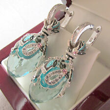 SALE ! STUNNING RUSSIAN AQUAMARINE STERLING SILVER 925  EARRINGS WITH ENAMEL