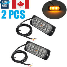 2X 12LED 12/24V Amber Car Emergency Flashing Light vehicle Strobe Flash  Warning