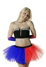 Crazy Chick 3 Layers Blue-Red TuTu Skirt Squad Quinn Halloween TuTu Skirt Costum