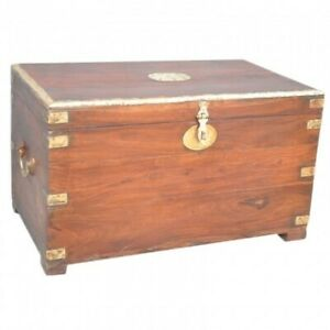 MADE TO ORDER Indian Solid Wood Handmade Brass Border Solid Timber Blanket Box