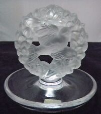 LALIQUE SIGNED FRANCE CRYSTAL DOVE IN WREATH RING TRAY PIN DISH FROSTED EXC. CON