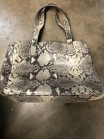 Cynthia Rowley Gold Metallic Python Print Leather Handbag Purse Bag Tote