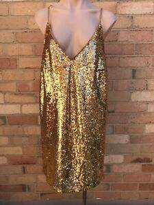 Asos Gold Sequin Disco Party Strappy Dress Size 14 Worn Once