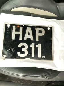 Old Registration number plate HAP 311 .................   off my 1952 Land Rover