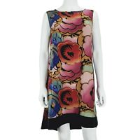 Coleen X Dress UK 12 Colourful Floral Pattern Sleeveless Black / Pink Mix