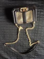 Rebecca Minkoff Mini Love Bag Purse Rare Black Crackle Gold Chain Evening Clutch