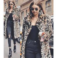 Women Leopard Print Winter Faux Fur Coat Waterfall Cardigan Outwear Coat Jackets