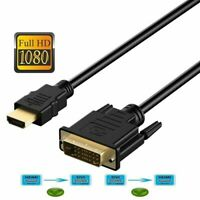 New HDMI to DVI-D 24+1 Pin Monitor Display Adapter Cable Male/Male HD HDTV 6 FT