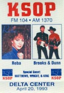 REBA McENTIRE BROOKS & DUNN 1993 KSOP RADIO PROMO BACKSTAGE PASS / NMT 2 MINT