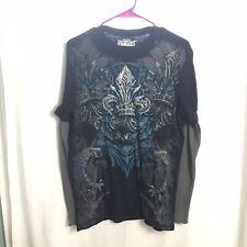 MMA Elite Mens Long Sleeve Thermal Shirt Sz M Multi Color Fleur De Lis Design