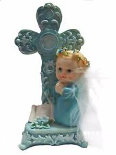 Baptism Christening First Communion Praying Angel Boy Next to a Cross with a scr