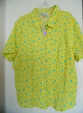 Cj Banks by Christopher & Banks Yellow Floral Top Shirt Blouse  Sz  2X