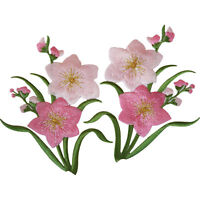 Pair of Pink Flower Patches Iron Sew On Flowers Embroidered Patch Badge Applique
